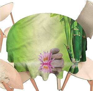 Iuvolux Round Table Cloths Spa,Zen Garden Peaceful Mind,Indoor Outdoor Spillproof Tablecloth Table Cover for Spring Summer Patio Garden Tabletop Decor Diameter 54 inch