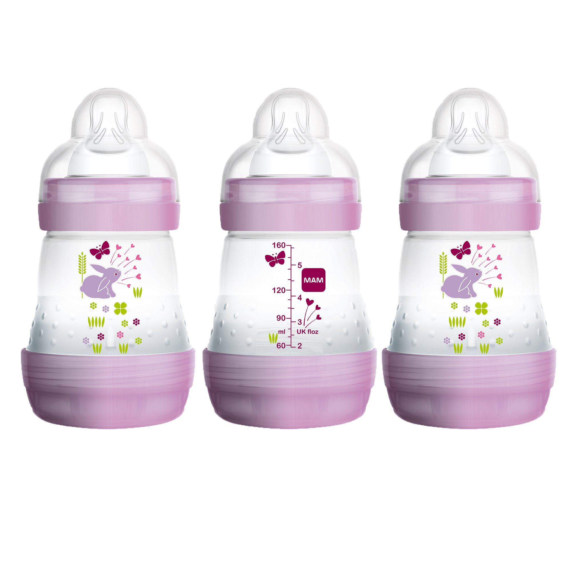 MAM Baby Bottles for Breastfed Babies, MAM Bottles Anti Colic, Girl, 5 Ounces, 3-Count
