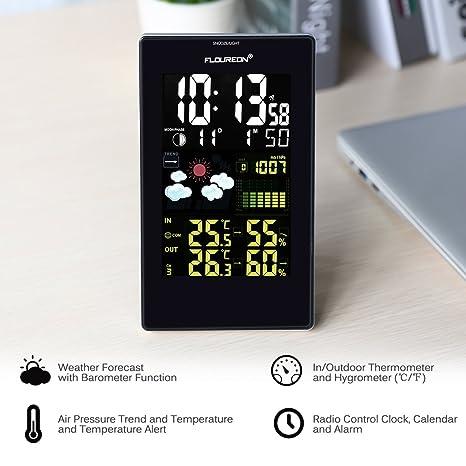 FLOUREON - Estación meteorológica con termómetro e higrómetro inalámbrica para interior y exterior con pantalla LCD en color y sonda: Amazon.es: Jardín