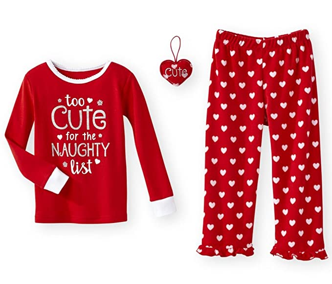 too cute for the naughty list christmas 3 piece baby toddler girls pajamas set 3t