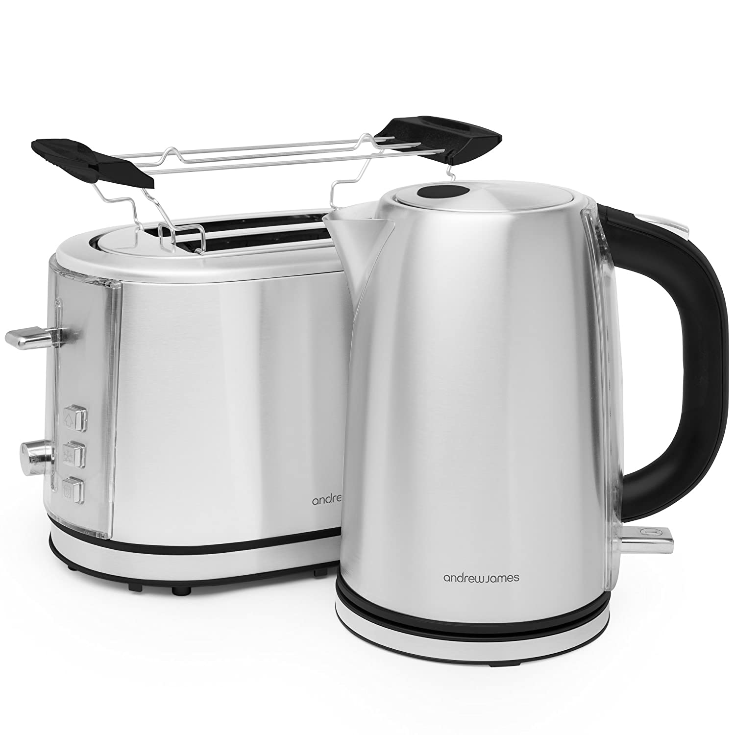 Andrew James Argentum Toaster and Kettle Set | 2 Slice Toaster with 6 Heat levels & Warming Rack| Fast Boil 3000W Electric Cordless Jug Kettle with Swivel Base & Boil Dry Protection | Silver Stainless Steel