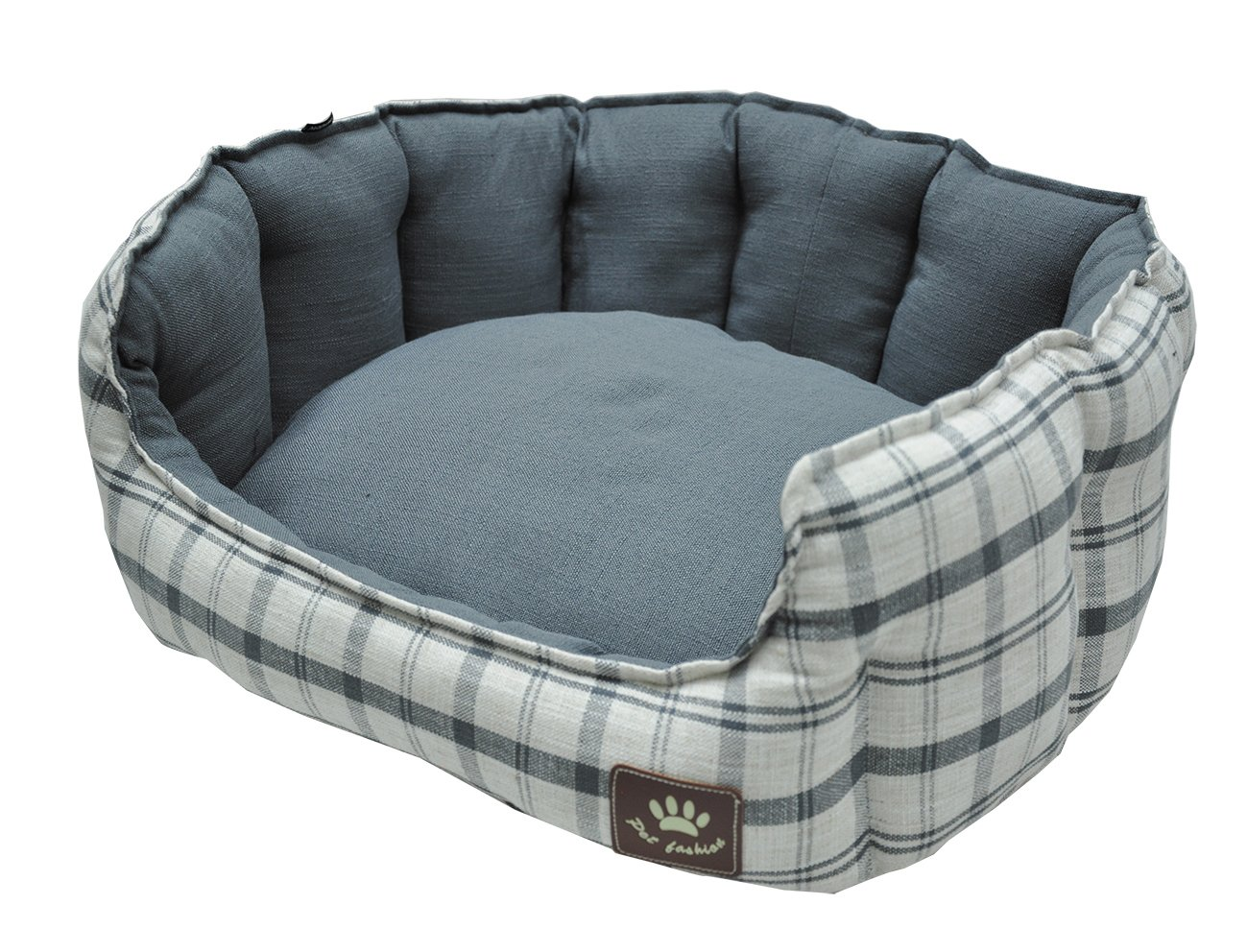 VADIGRAN Checker Style Dog Bed, 86 x 70 cm, Grey