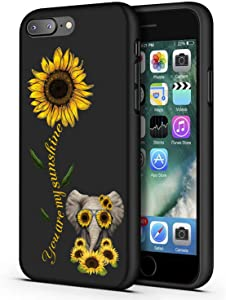 iPhone 7 Plus Case,iPhone 8 Plus Case,Sunflower and Cute Elephant Slim Anti-Scratch Shockproof Leather Grain Soft TPU Back Protective Cover Case for iPhone 7 Plus/iPhone 8 Plus 5.5