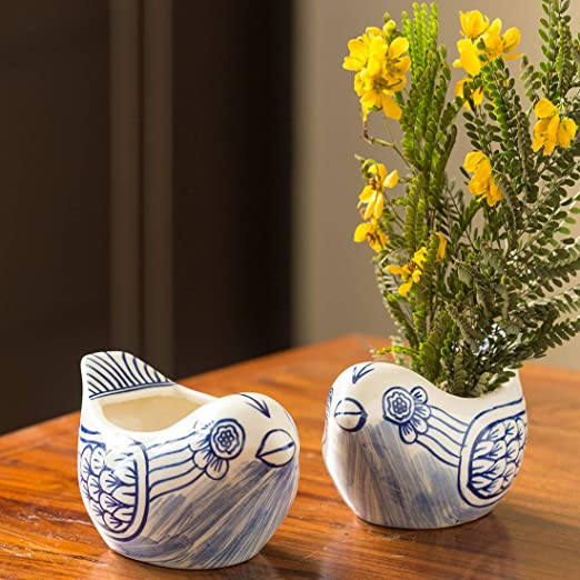 ExclusiveLane The 'Chirpy Couple' Mughal Hand-Painted Ink Blue Ceramic Planters (Set of 2) - Planter Pot Ceramic Planter Box for Balcony Flower Pots for Garden Living Room Decorative Plant Bowls