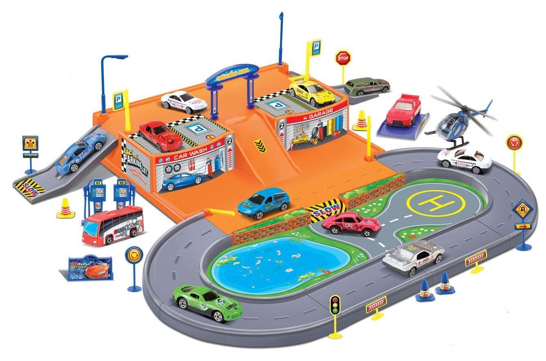 Amazoncom Powertrc Kids Garage Car Wash Vehicle Playset With