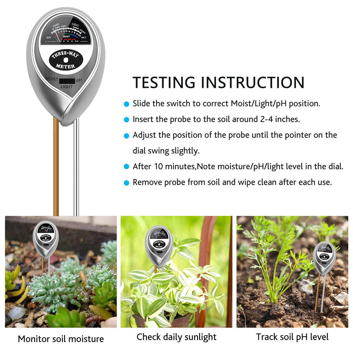 VDROL Soil PH Meter, 3 in 1 Soil Acidity Reader Light PH Moisture Meter Säuretester Pflanzenöltester Kit for Garden, Utilities, Agriculture, Indoor and Outdoor Use (No Battery Required)