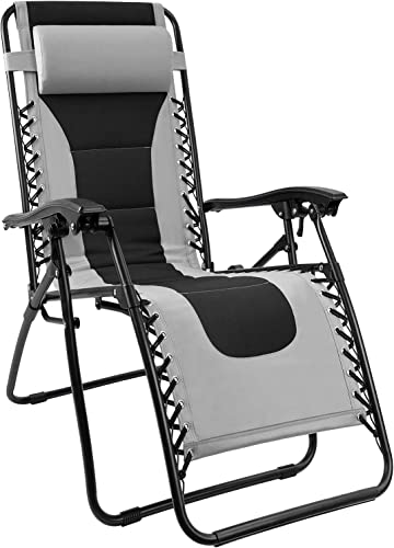 Homall Zero Gravity Chair Patio Padded Recliner Outdoor Oversized Portable Lounge Chair Adjustable Lawn Folding Chair