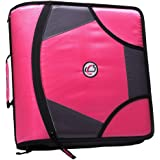 "Case-it King Sized Zip Tab 4"" D-Ring Zipper Binder with 5-Tab File Folder, Neon Pink (D-186-NeoPnk)"