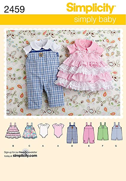 Amazon Simplicity Simply Baby Pattern 2459 Babies Romper In Two