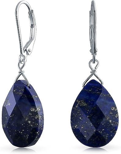 New Beautiful Drop Lapis Lazuli Flowers Gemstone Silver Hook Earrings Jewelry