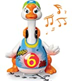 ToyThrill Singing, Dancing Musical Goose Baby Toy - Flashes Lights, Plays 3 Hip Hop Songs, Glides Across Floor - Stimulating, Fun Game for Toddlers and Babies - Blue