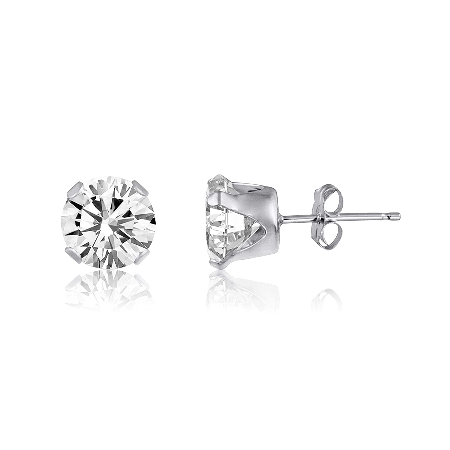 NATALIA DRAKE Genuine Round Unisex Tanzanite or White Topaz Stud Earrings or Pendant Birthstone in Sterling Silver