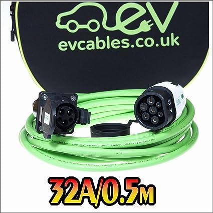 EV Cables CHC012 J1772 Tipo 1 a Tipo 2 para Veh/ículos El/éctricos 32 A Cable de Convertidor 0.5M 1 Fase 0.5 m