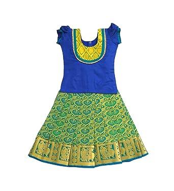 3d9549015ff2c1 Amazon.com  Pattu Pavadai Silk Pavada Sattai Blue and Ramagreen for ...