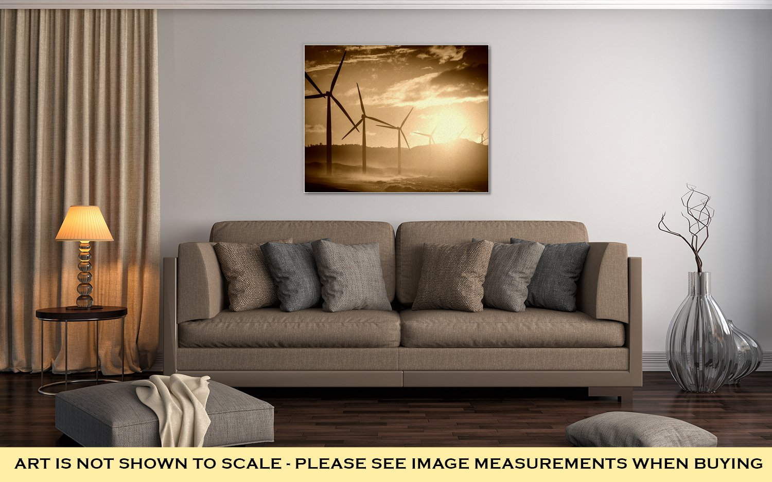 Ashley Canvas Wind Turbine Power Generators Silhouettes At Ocean Coastline At Sunset, Home Office, Ready to Hang, Sepia 20x25, AG5858548