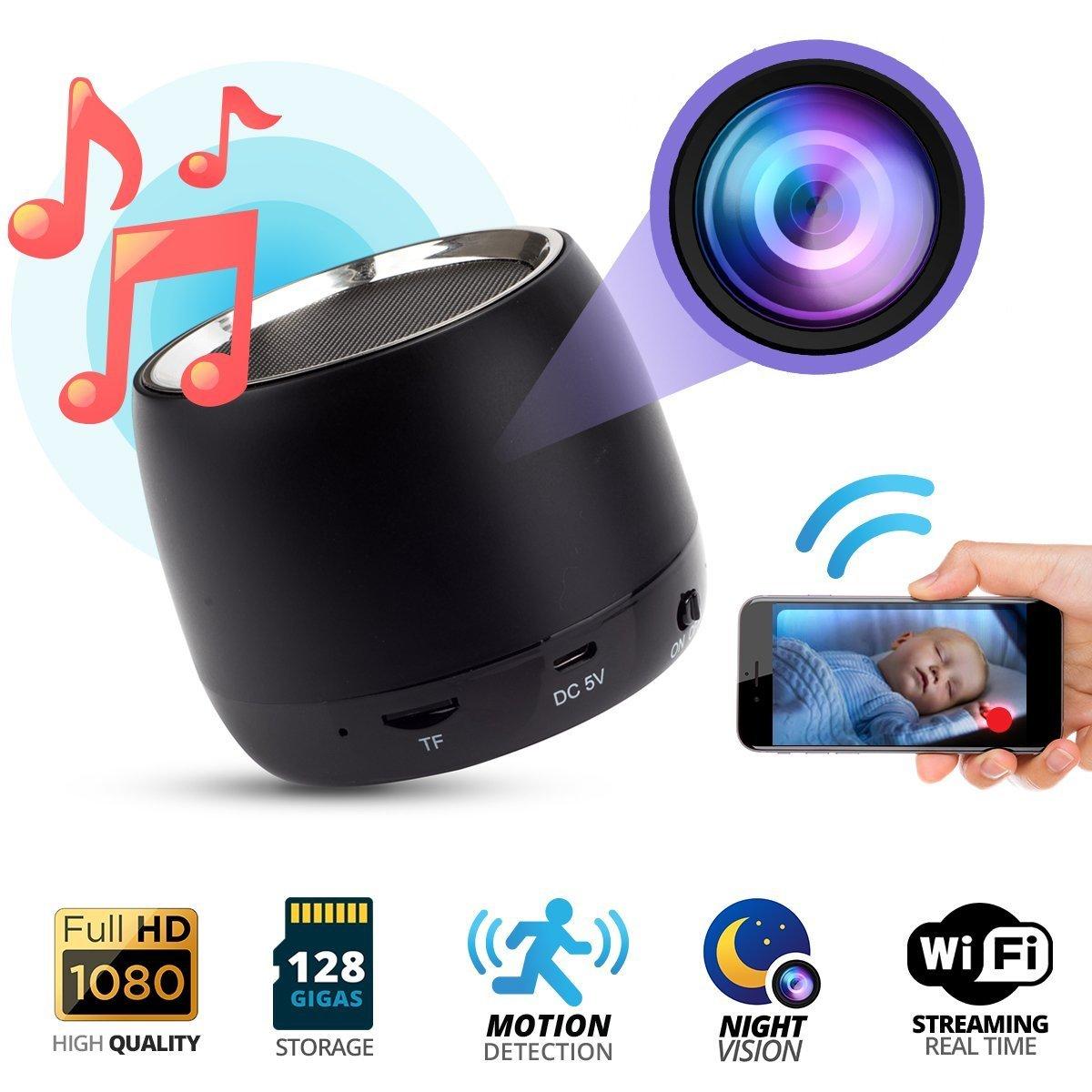SilverSea™ 1080P HD高画質 P2P Wifi 隠しカメラ Bluetooth ワイヤレススピーカー型カメラ 長時間録画 防犯カメラ 4分割画面 スマホにリアルタイム監視 録音 動体検知 暗視機能 iPad/iPhone/Android 対応 遠隔監視操作 小型ビデオカメラ 大音量 重低音強化 長時間連続再生可能 最大128GB サポート 日本語取扱説明書付き B07CTGZ3M7