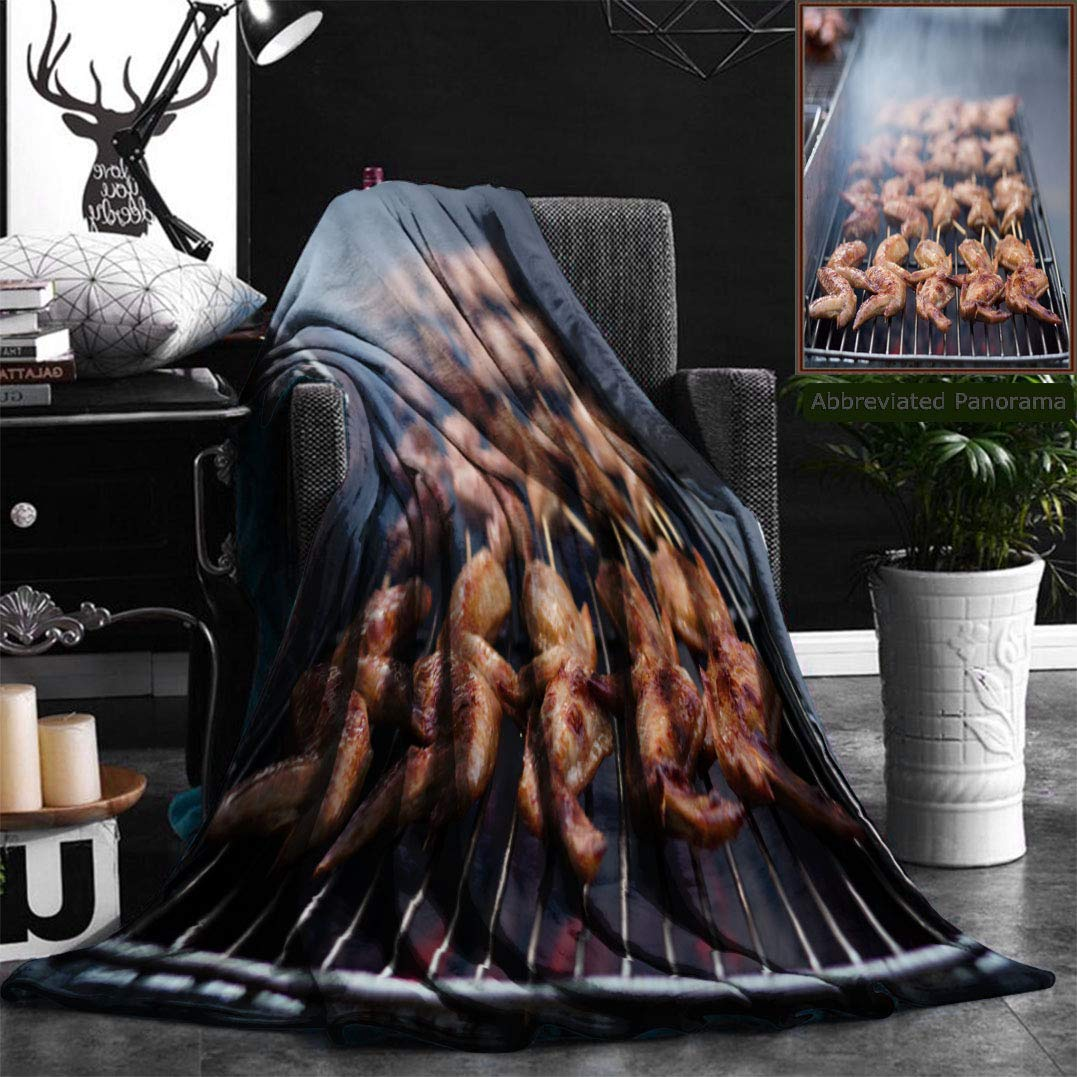 Nalagoo Unique Custom Flannel Blankets Street Food Thai Barbecue Grilled Chicken Super Soft Blanketry for Bed Couch, Twin Size 60'' x 80''