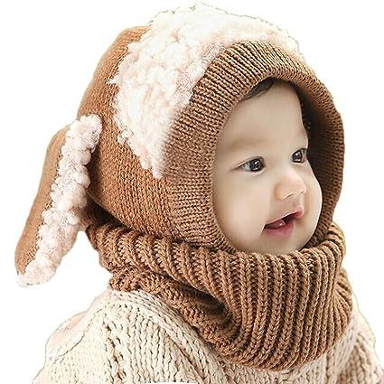 ce323bfdf Tongshi Invierno del bebé Niños Chicas Chicos Caliente lana Cofia Capucha  Bufanda Caps Sombreros(Caqui