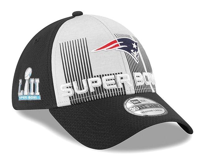 huge discount 46d8b 8f5bb Amazon.com   New Era New England Patriots NFL Super Bowl LII 39THIRTY Flex  Fit Black Hat   Clothing