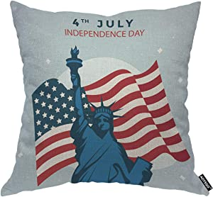 AOYEGO Independence Day Throw Pillow Cover Liberty Statue American Flag Celebrate Democracy Freedom Pillow Case 18x18 Inch Decorative Men Women Boy Girl Room Cushion Cover for Home Couch Bed