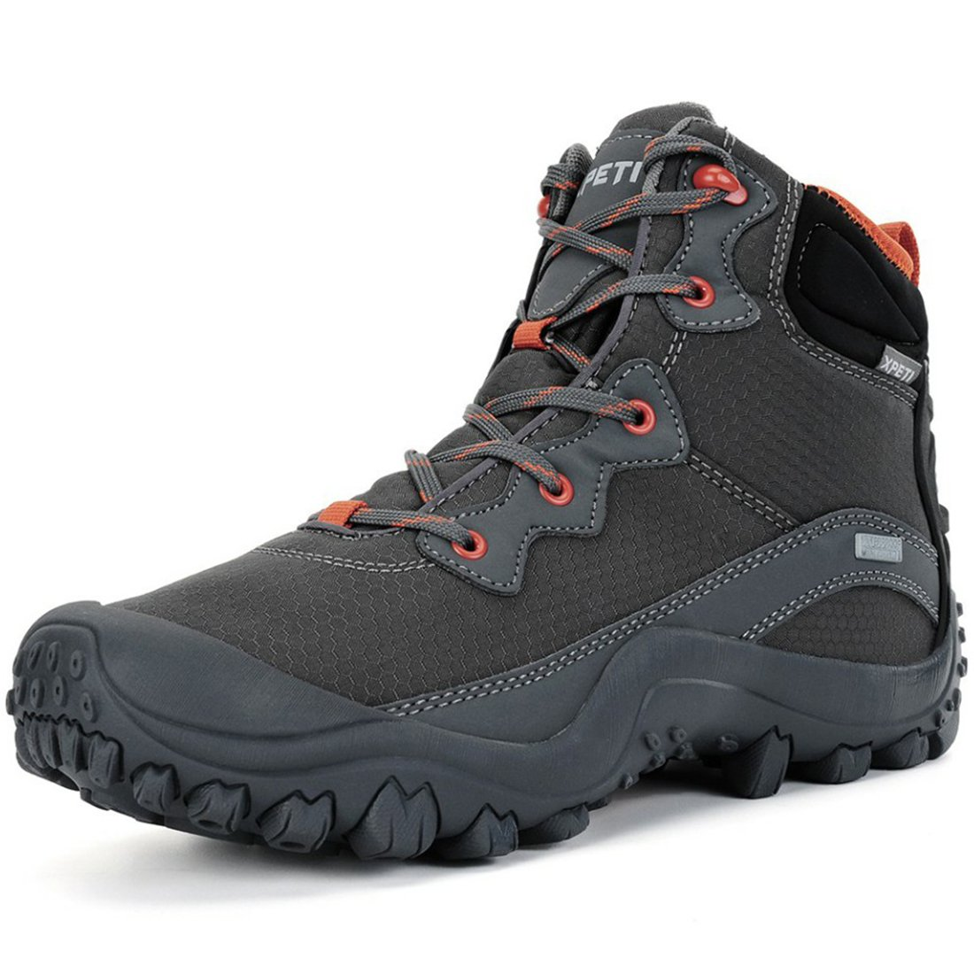 XPETI Men's Dimo Mid Waterproof Hiking Trekking Trail Boot Gray 8