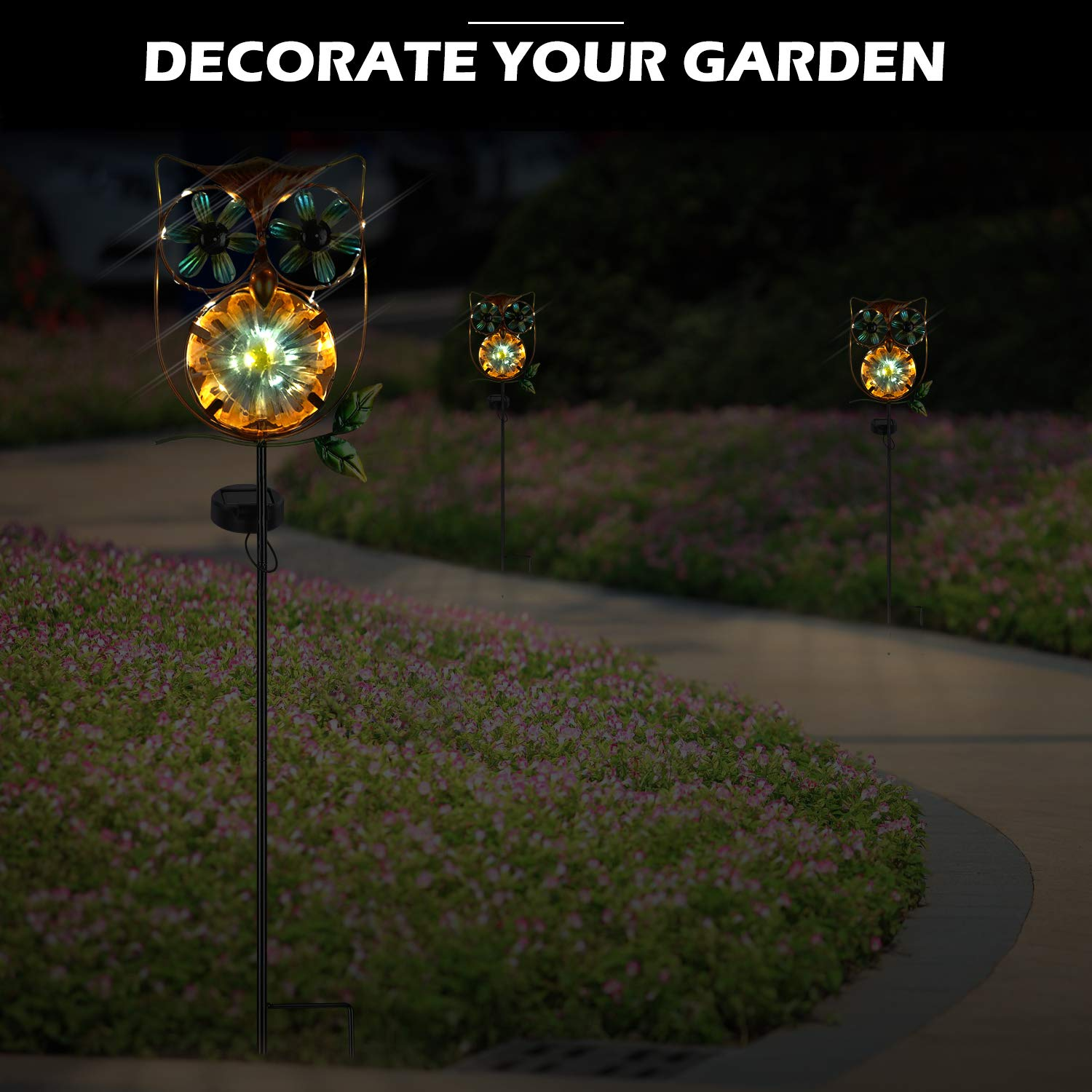 Leidrail Solar Garden Light Outdoor Decorative Stake Owl Wind Spinner Metal Pathway Lights Solar Powered Yard Decor Buy Online In Colombia At Desertcart Productid 181935568