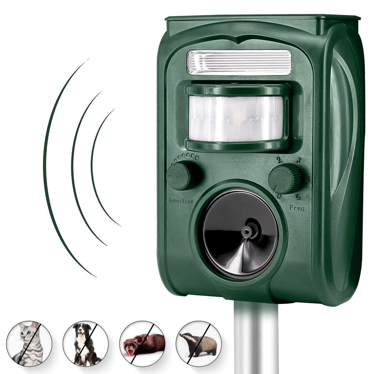 Outdoor Waterproof Ultrasonic Animal Repeller, Solar Powered & USB Charging, Divo Pet Repellent Cat Dog Mice Bird Deterrent Spike For Garden Yard Field Farm Glassland With Infrared Sensor, Green