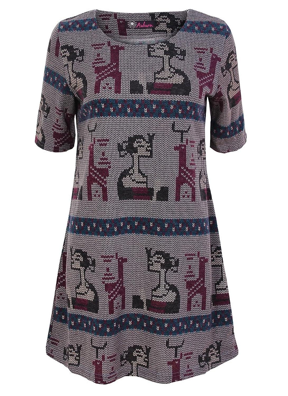 New Womens Wine Grey Navy Blue Inca Aztec Print Tunic Dress Top Tribal Scoop Neck 1/2 Half Sleeves Sugar Crisp Ladies Fashion 10 12 14 16
