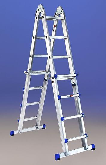 Telescópica Escalera multiposición aluminio 16 (4x4) () 4 peldaños: Amazon.es: Bricolaje y herramientas