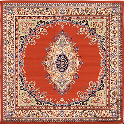 A2Z Rug Traditional Terracotta 8' x 8' Mashad Collection Area rug Perfect for any floor & Carpet