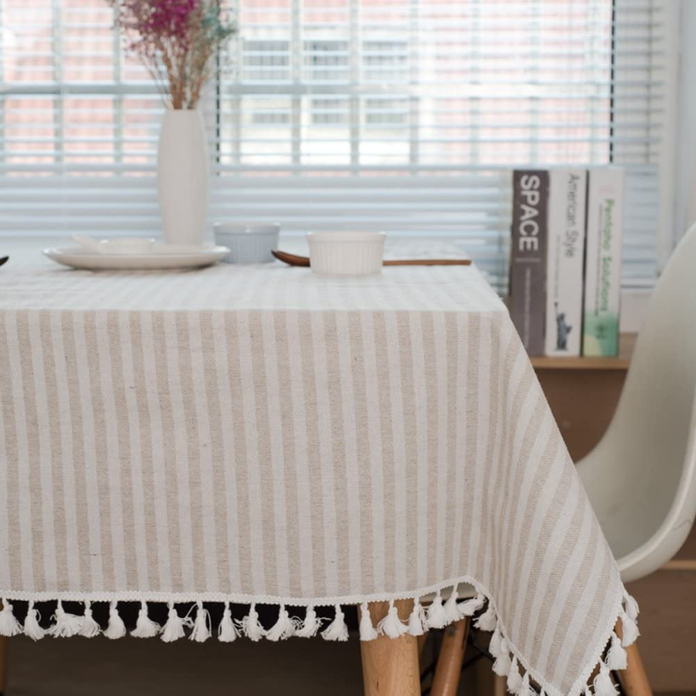 meioro Manteles Rectangular Mantel Antimanchas Mantel para Mesa de Lino Striped Tassel Tablecloth La decoración del hogar es Adecuada (Albaricoque / Rayas Blancas, 100×140cm)