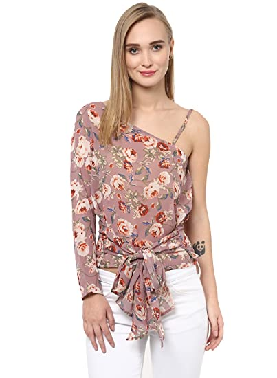 b310d14c19b333 BESIVA Women s One Shoulder Floral Print Polyester Top  Amazon.in ...