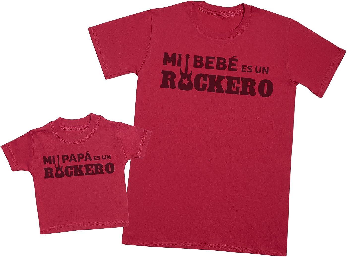 Zarlivia Clothing Mi Papá es un Rockero - Regalo para Padres y bebés en un Camiseta para bebés y una Camiseta de Hombre a Juego