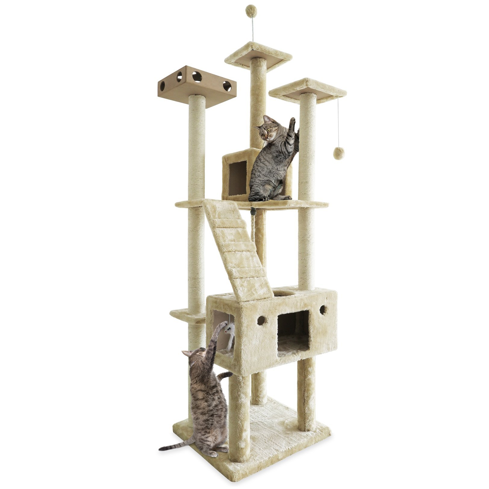 FurHaven Tiger Tough Cat Tree House Furniture for Cats and Kittens Cream