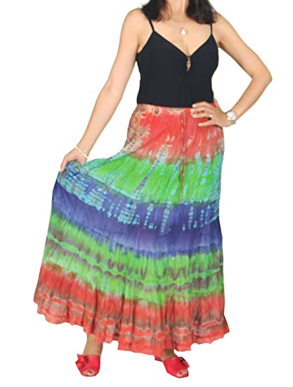 98acf01992 KayJayStyles Women's Hippie Boho Gypsy Tie-dye Long Skirt (Green) at ...