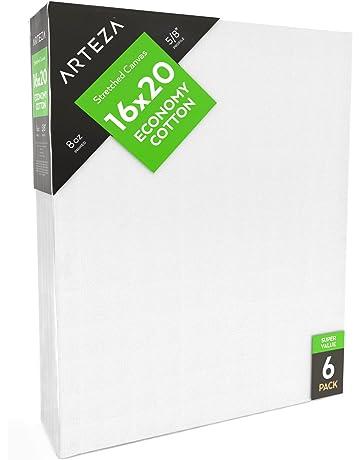 "9bc385e7ef6b7 ARTEZA 16x20"" Stretched White Blank Canvas"