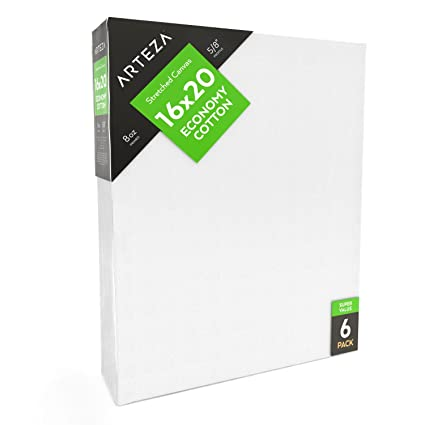 amazon com arteza blank pre stretched canvas for painting 16x20