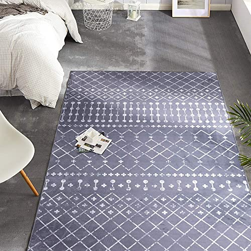 jinchan Indoor Area Rug Polypropylene Low Pile Diamond Modern Durable Low Pile Fashionable Living Room Kitchen Bedroom Soft Carpet 4 x 6 7 Charcoal Grey