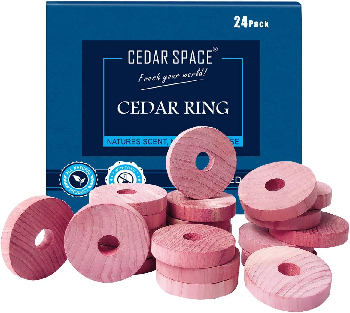 Cedar Space Cedar Blocks for Clothes Storage 100% Natural Aromatic Red Cedar Rings Protection for Wardrobes Closets and Drawers 24 Rings