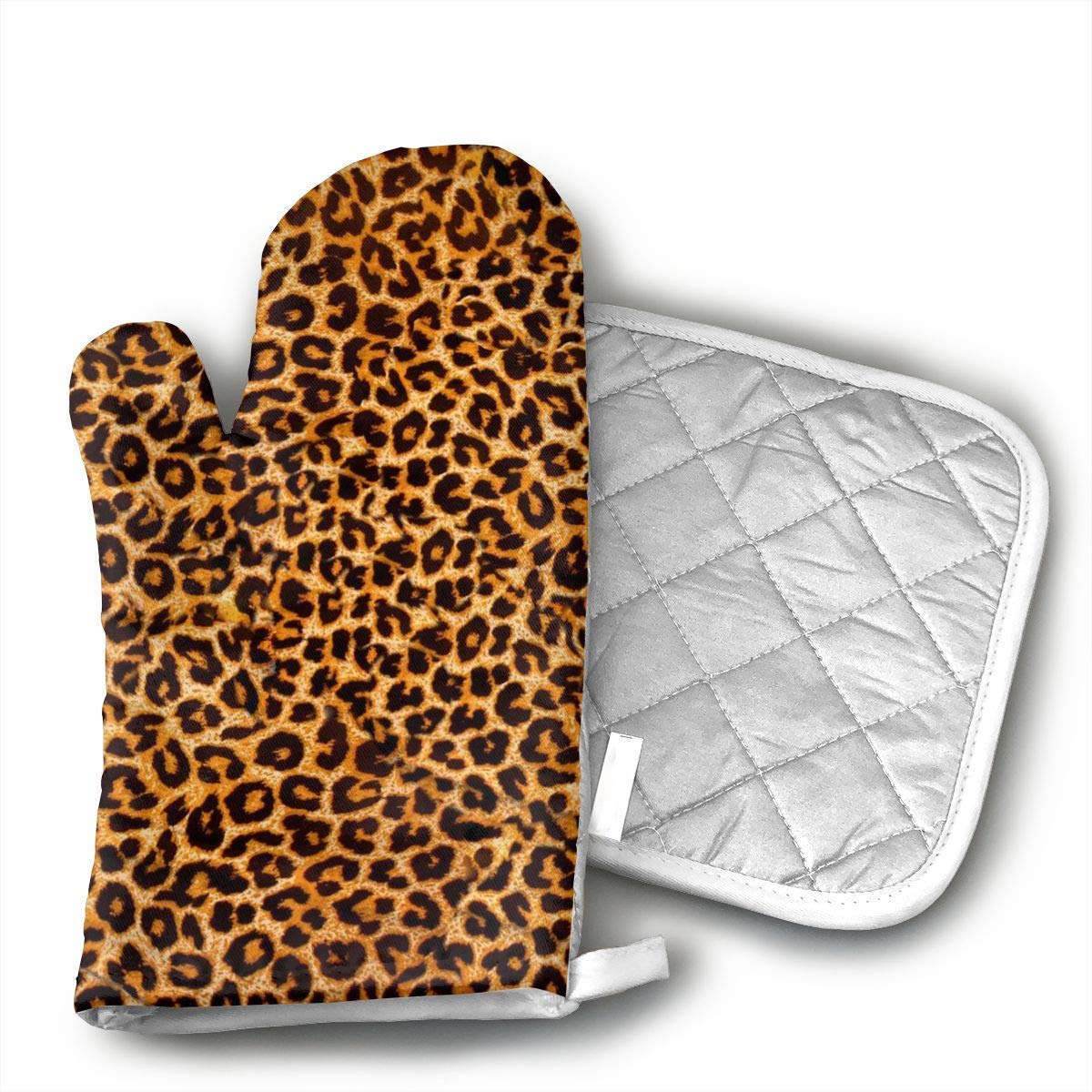 Leopard Print Oven Mitts and Pot Holders Set with Polyester Cotton Non-Slip Grip, Heat Resistant, Oven Gloves for BBQ Cooking Baking, Grilling