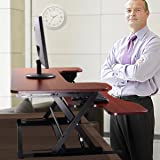 """JAXPETY Standing Desk - the DeskRiser - 35"""" Wide Adjustable Height Sit Stand Up Desk with Retractable Keyboard Tray supports 50 Lbs Heavy Duty - Fits Dual Monitors"""