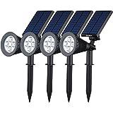 [200 lúmenes & 4Packs] Luz Solar / foco LED Impermeable IP65 de VicTsing, Luz de Paisaje al Aire Libre Proporcionar hasta 10 HORAS de iluminación Para Calzada, Patio, Cesped, Pathway, Jardín.