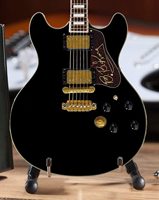 BB King Guitarra – Réplica de cuerpo hueco en miniatura negro de ...