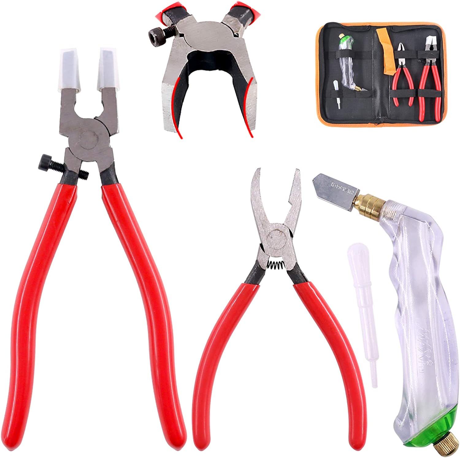 Hilitchi 3-Pcs Premium Glass Running Breaking Pliers and Pistol Grip Cutter Set Glass Tool for Stained Glass, Mosaics and Fusing Work