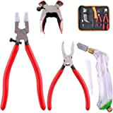 Hilitchi 3-Pcs Premium Glass Running Breaking Pliers and Pistol Grip Cutter Set Glass Tool for Stained Glass, Mosaics…