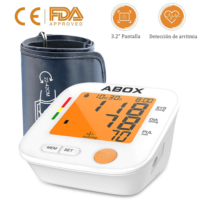 ABOX Tensiómetro de Brazo Digital, 2 x 90 memoria y 22-42cm largo manguito de preciso resultado con detección del pulso arrítmico, 2 modos de alimentación ...