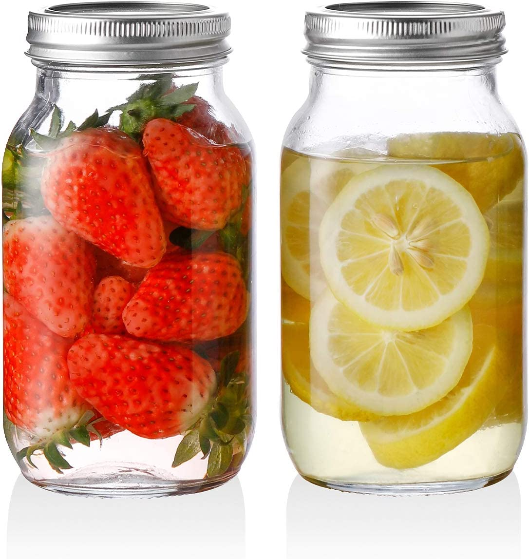 SWEEJAR Glass Mason Jars(24 oz),Ball Regular Mouth with Silver Metal Airtight Lid,Ideal for Meal Prep,Food Storage,Canning,Overnight Oats,Jelly,Dry Food,Salads,Yogurt,Jam,Honey(2 pack)