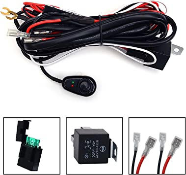Universal LED Work Fog Light Lamp Wire Harness Push Button Switch On-Off