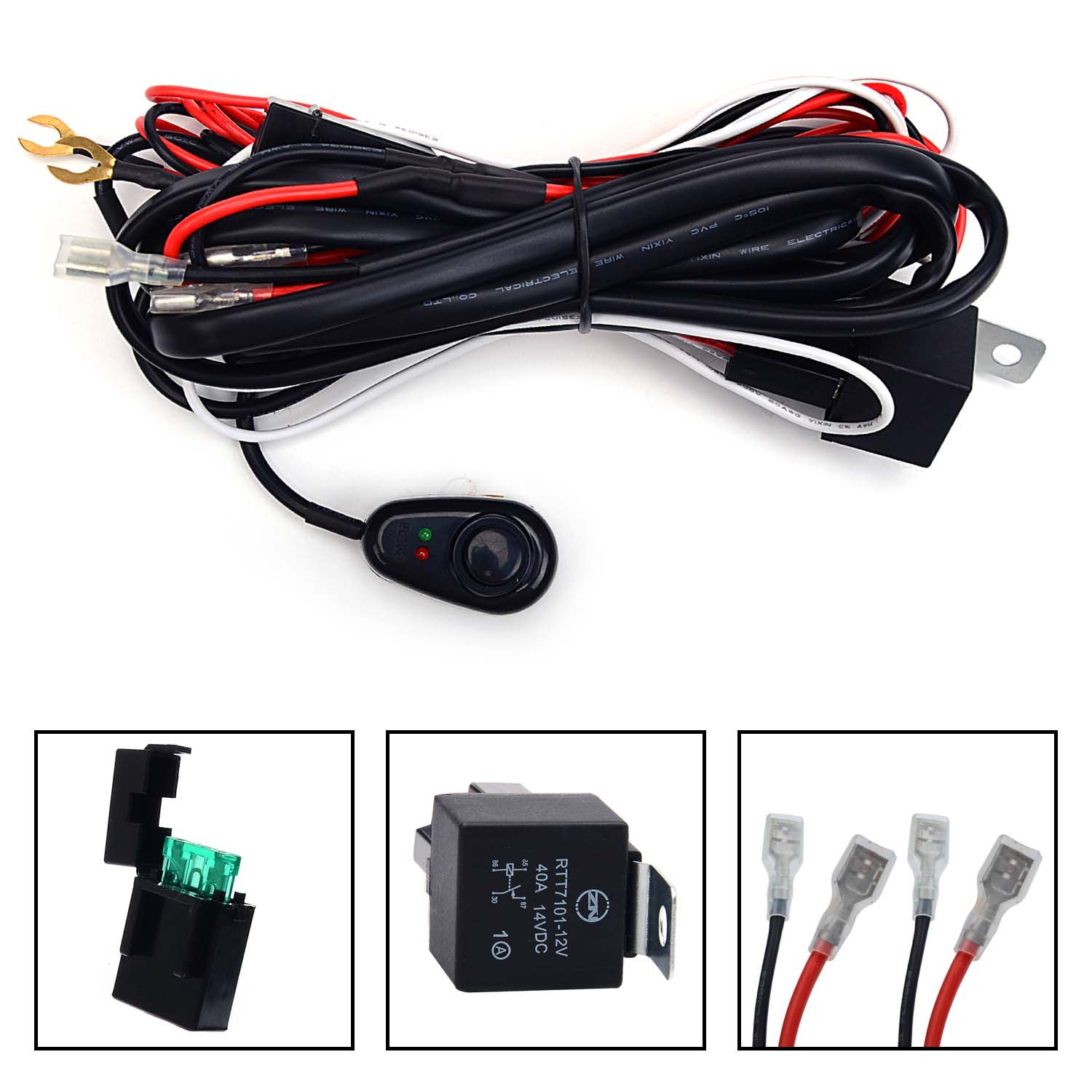 KAWELL Universal 2 lead LED Light Bar Wiring Harness Kit with Fuse Relay  ON/OFF Switch for LED Offroad Driving light LED lamp fog light work light  (12V 40A ...