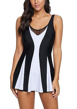 ffe17482f8 Women Ruched Retro One Piece Swimdress Swim Dress Swimwear Slimming Skirt  Swimsuits Bathing Suit Dress. Roll over image to zoom in. Urban Virgin
